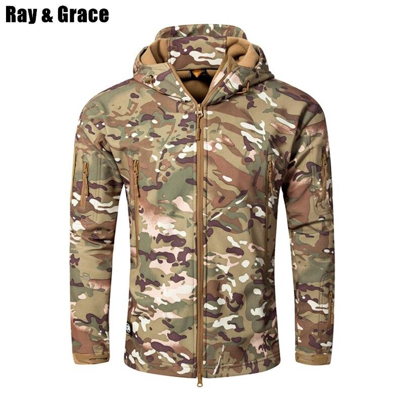 RAY GRÂCE Hommes de veste softshell Tactique veste étanche Hommes Camouflage Chasse D'hiver En Plein Air Polaire Thermique veste de randonnée