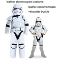 7 sizes High quality leather Star Wars The Force Awakens children leather stormtroopers costume with mask for 90cm-160cm kid