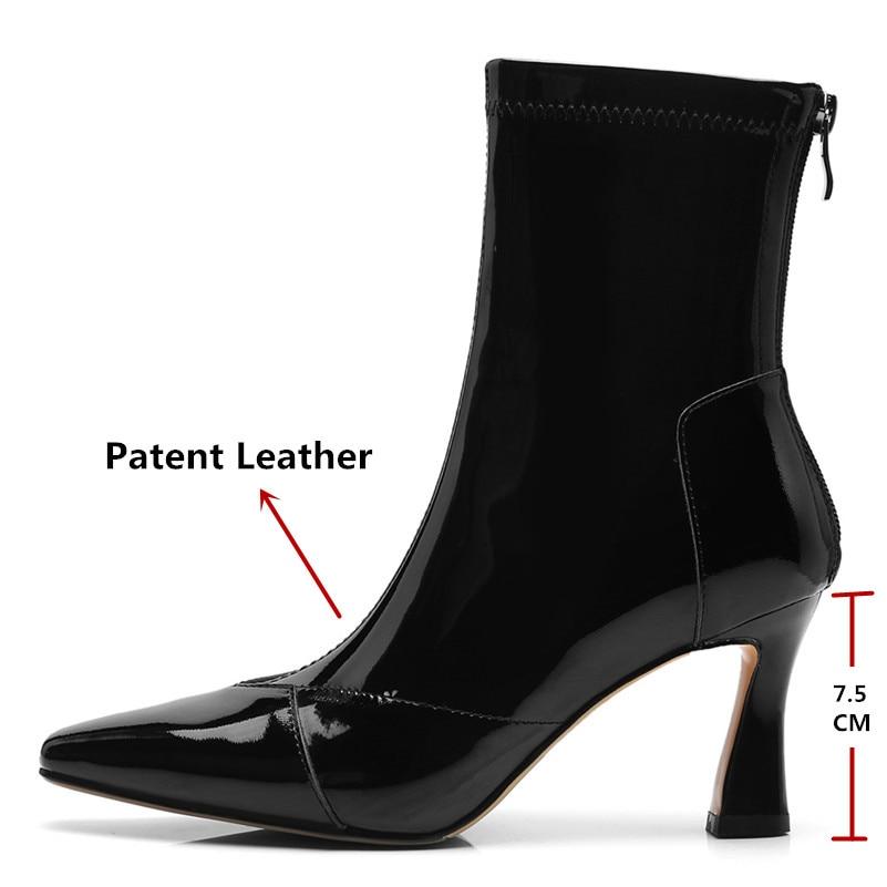 stretch En Hauts Fabric2 Chaussures Leather Verni Nouvelle Cuir Chaud Talons Chevalier Zipper Femme Haute Cheville stretch patent Fabric1 Martin À Bottes Conasco Fabric3 Femmes Automne Stretch Marque Hiver wtqCUF