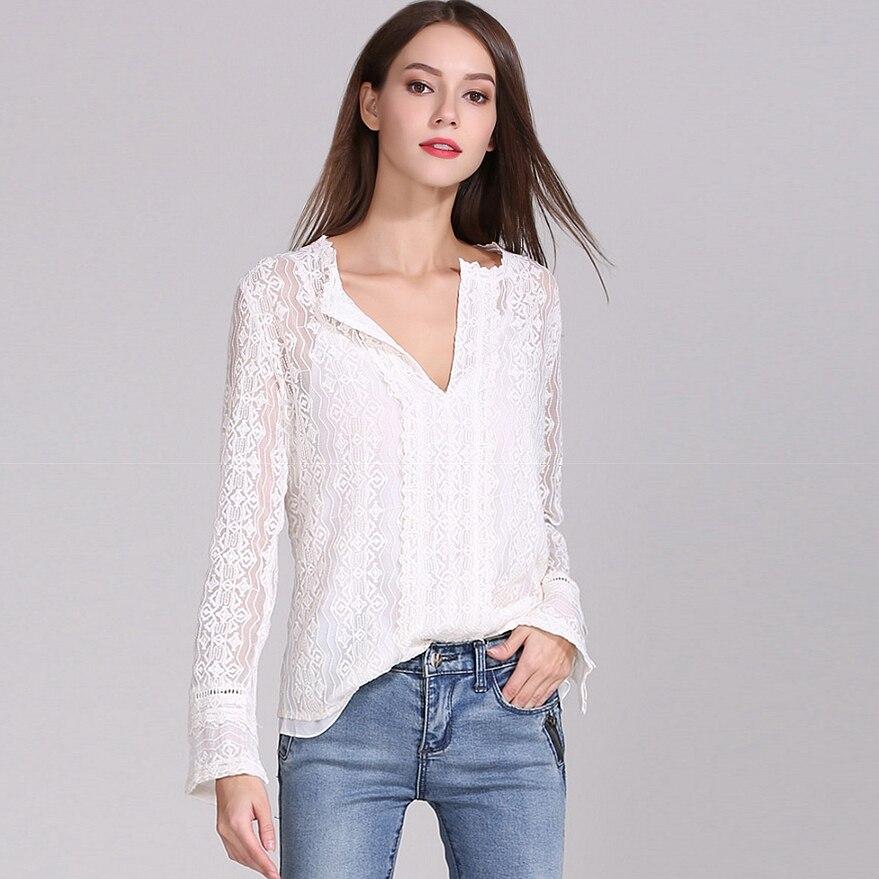 Blusa de seda 100% camisa de mujer bordado Vintage sólido diseño plisado cuello en V profundo manga larga elegante estilo nueva moda 2019-in Blusas y camisas from Ropa de mujer    1