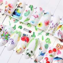 FWC Brand New 1 PC Green Grass/Flower/Fruit Water Transfer Sticker Nail Art Decals DIY Fashion Wraps Tips Manicure Tools все цены
