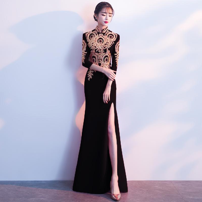 Modern Chinese Wedding Dress Black Cheongsam Sexy Oriental Collars Traditional Evening Gown Qipao Long Embroidery Vestido Chino