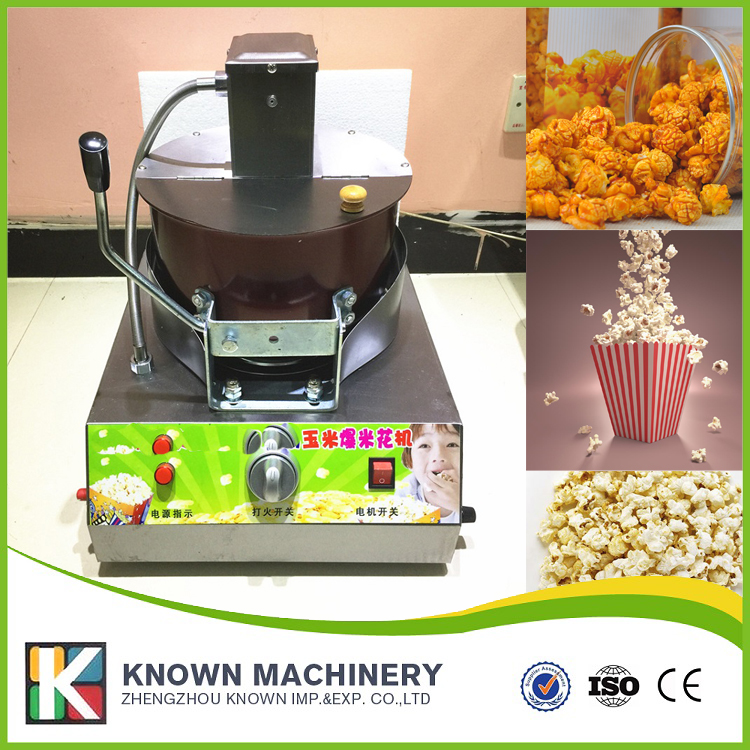 Single popcorn machine, gas stirring popcorn machine, commercial rice flower machine on hot sale pop 06 economic popcorn maker commercial popcorn machine with cart
