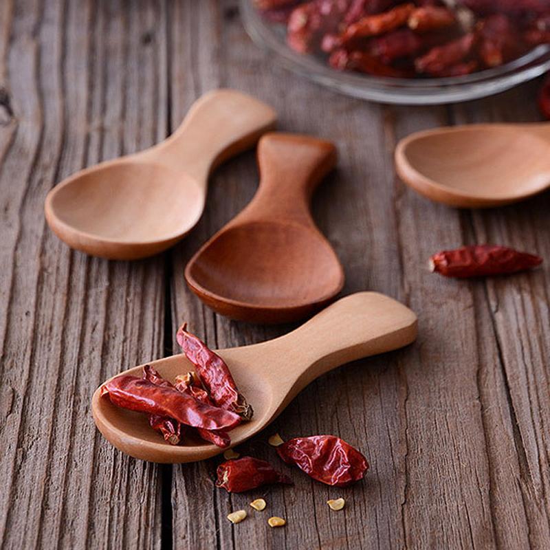 Mini Wooden Spoon 8cm Small Kitchen Spoon Sugar Salt Spice Spoon Short Handle Wood Tea Coffee Scoop Wooden Utensils Kitchen Accessories (1)