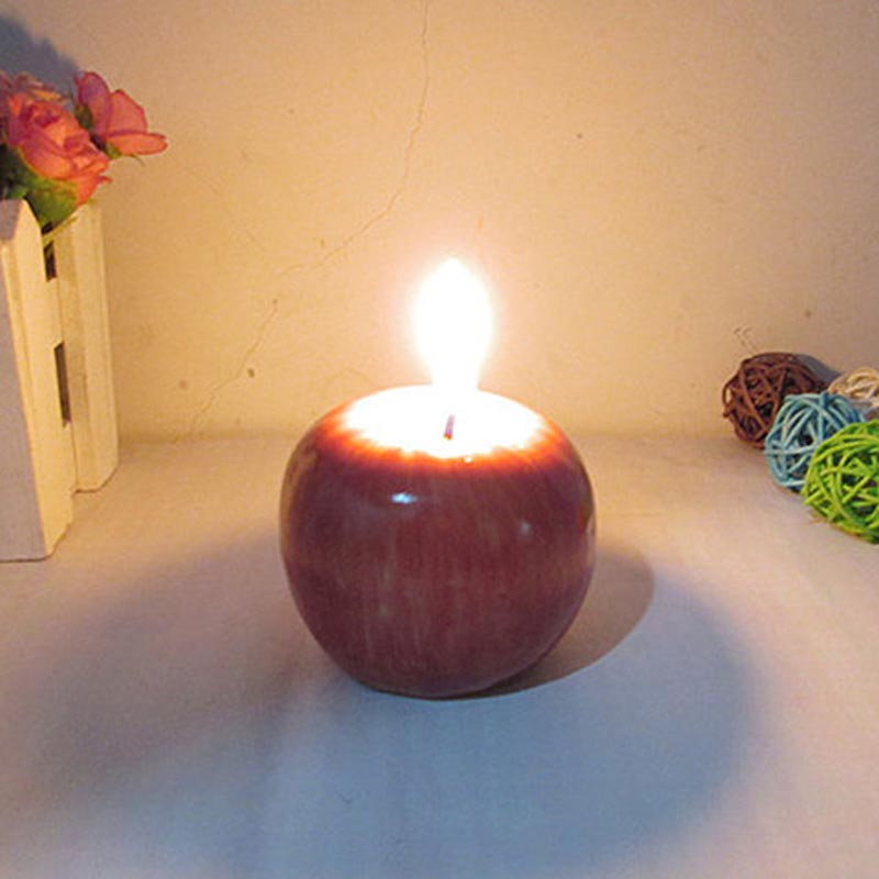 Home Red Apple Shape Fruit Scented Candle Gift Wedding Decoration Valentine's Day Christmas Candle Lamp  MAL999
