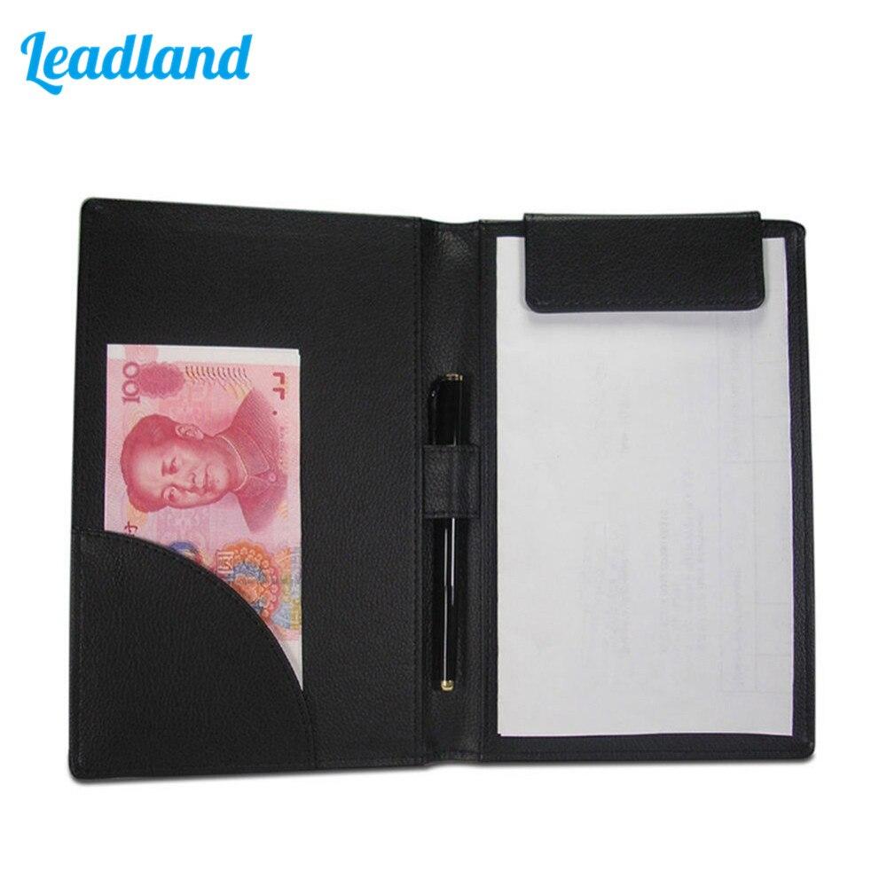 PU Leather Cashier Clip Bill Folder File Holder for Hotel Bar Salon KTV Restaurant A067 Black