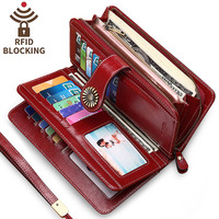 Women Long Wallet Genuine Leather Women's Purse Coin Card Holders Wallets Large Capacity with Zipper Pocket Money Bag