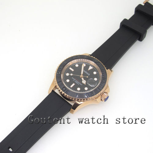 41mm Parnis Sapphire Automatic Men Watch Rose Gold Case Black Rubber Band