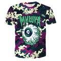 Novo Olho Do Crânio 3D Homens Da Camisa de T Tshirt Homme 2016 Mens Hip Hop Moda Camiseta de Manga Curta T-shirt Dos Homens Da Marca Slim Fit Elástico