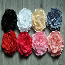 3pcs/lot 8 Colors Soft Satin Peony Flowers with Lace Girls Hairband Accessories Handmade Ornament For Kid Baby Headband Headwear
