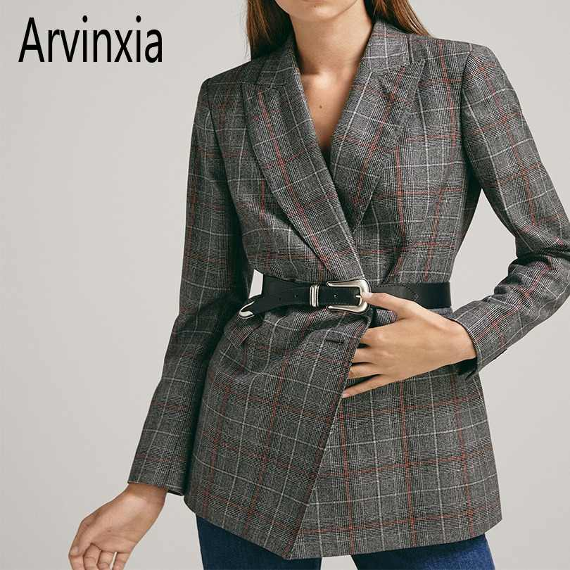 Arvinxia ZA Casual Plaid Pockets Slim Blarzers Suit Cardigans New Arrivals Long Sleeves Office Lady Suit Autumn Slim Women Coats