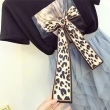 Women Leopard Printed Bow T Shirts+Elastic Waist Irregular Mesh Maxi Skirts Set