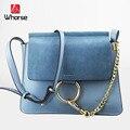 [WHORSE] Логотип бренда Новых Женщин Сумки Посыльного Небольшой Высокое Качество Натуральная Кожа Сумки На Ремне Дамы Сумки Crossbody сумка