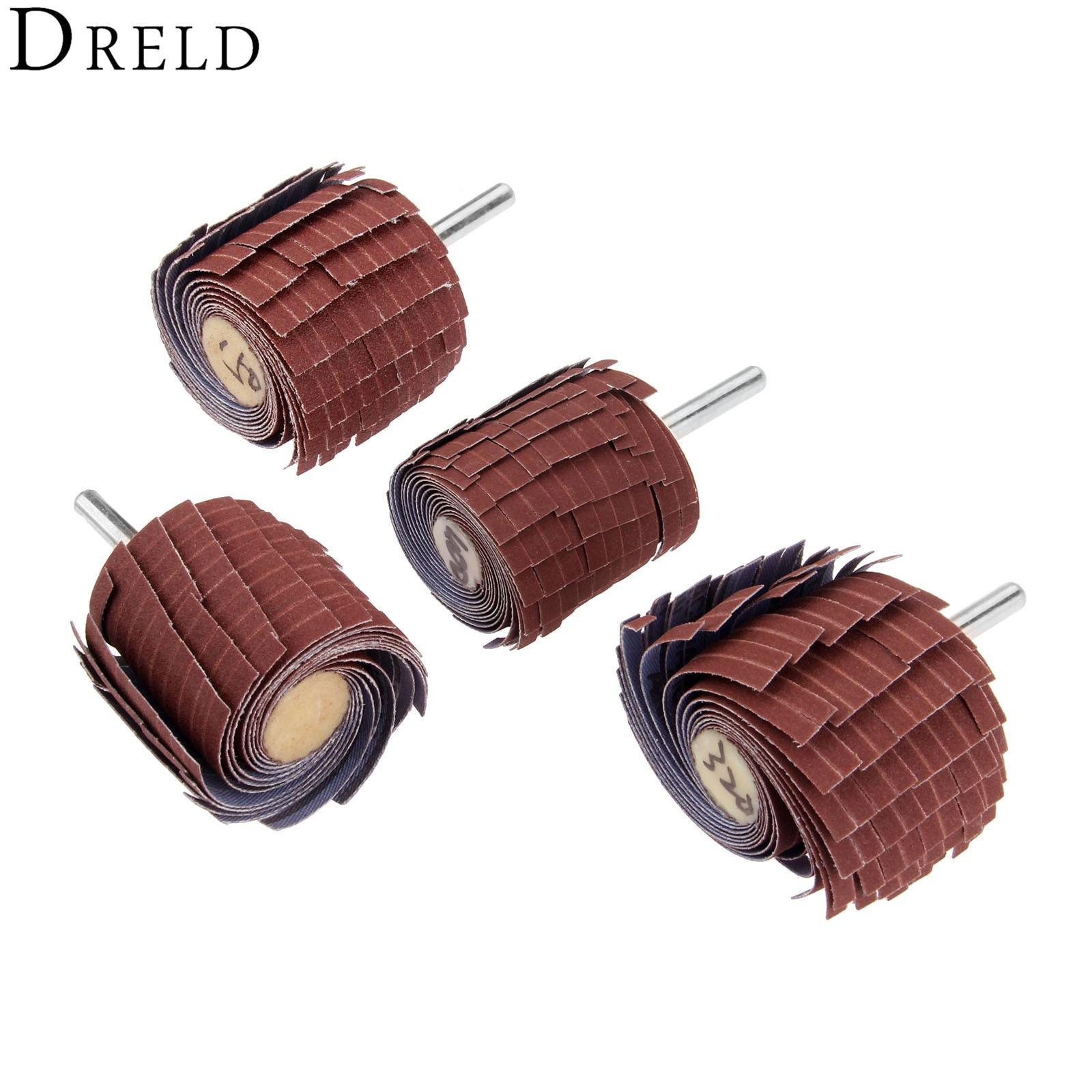 DRELD 1Pc Dremel Accessories 150-400 Grit Sanding Flap Wheel 6mm Shank Sanding Grinding Sand Paper Shutter Wheel For Rotary Tool