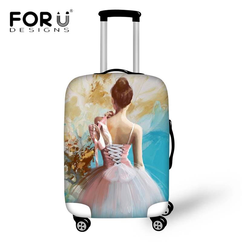 FORUDESIGNS Luggage Cover Dancing Ballet Girl Painted Suitcase Protective Covers For 18-30 Inch Case Elastic Travel Accessories