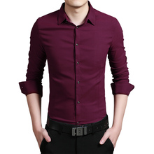 2016 neue männer-boutique baumwolle reine farbe schlanke Business und freizeit langärmelige hemden/Männliche beiläufige lange ärmeln shirts