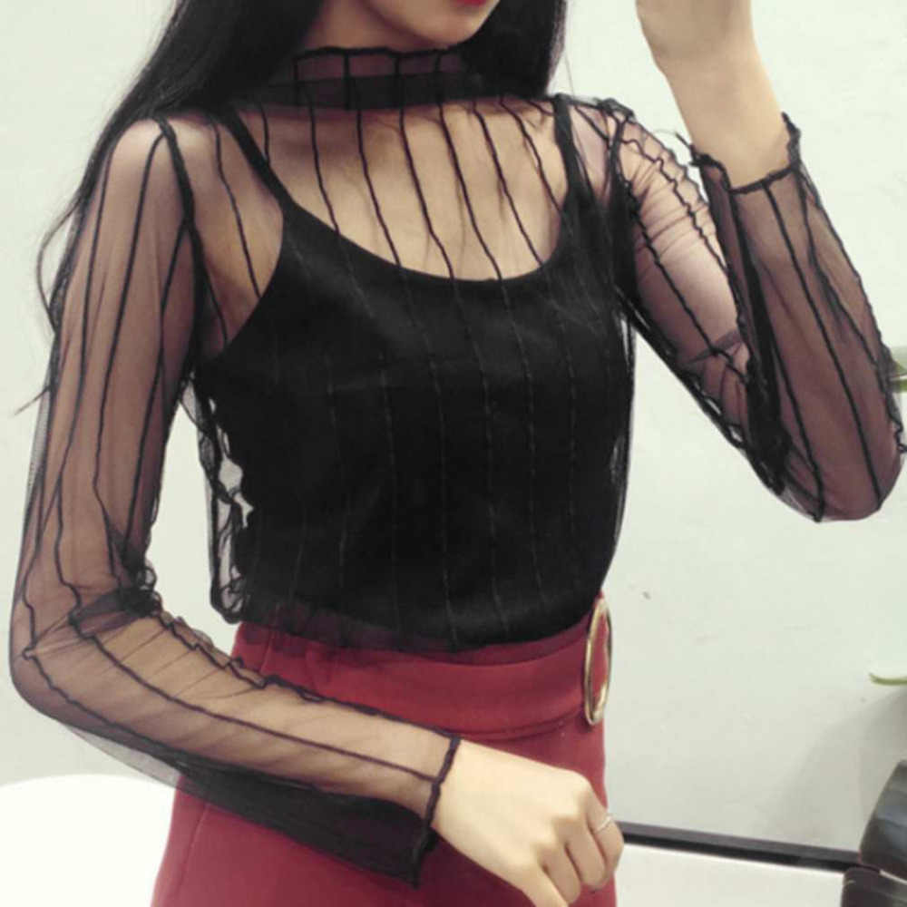 Women's Lace Transparent Tops T-shirt Hollow Mesh Top Net T-Shirt Women Long Sleeve Comfortable Shirt