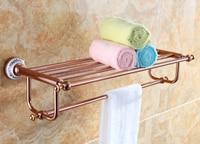 Free shipping Towel Racks Luxury Bathroom Accesserries rose gold Finish Bath Towel Shelves Towel Bar bath hardware DB008K 1R