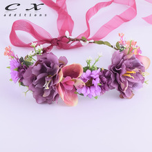 CXADDITIONS Rose Lilac Flower Crown Headwear Bridal Carnation Floral Headband Wreath Wedding HairBands Hair Accessories Mariage