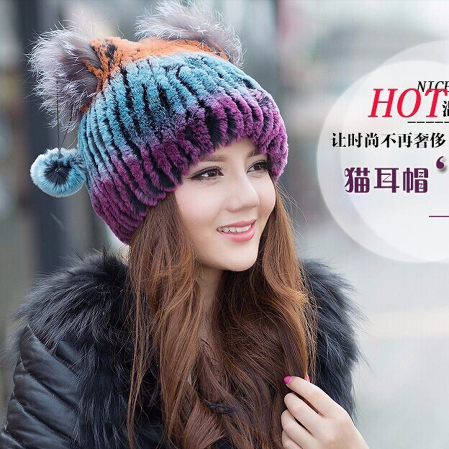 2016 Sale Floral Adult Winter Beanies Fur Hat For Women Knitted Rex Rabbit With Fox Flower Top Free Size Casual Women's skullies brand 2017 women s hat skullies beanies polyester knitted hats beanie hat spring casual velvet women beanies hats