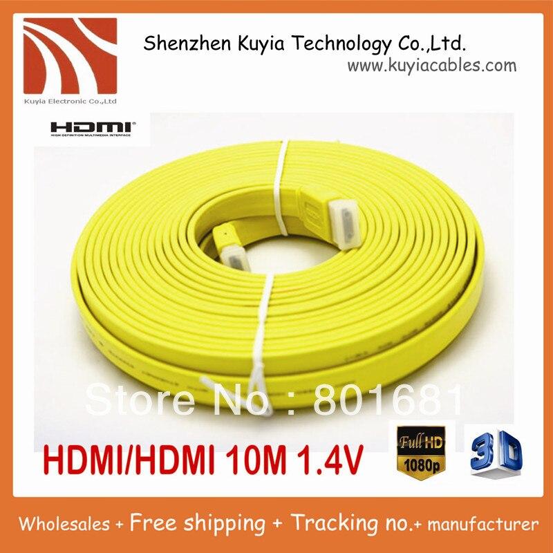 2pcs lot Free shipping Wholesales High quality 10M 33FT Full 1080P 3D Flat HDMI font b