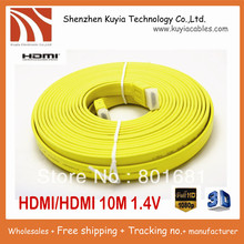 2pcs/lot!!Free shipping+Wholesales+High quality 10M/33FT Full 1080P 3D Flat HDMI Cable 1.4v for XBOX /PS3 HDTVl