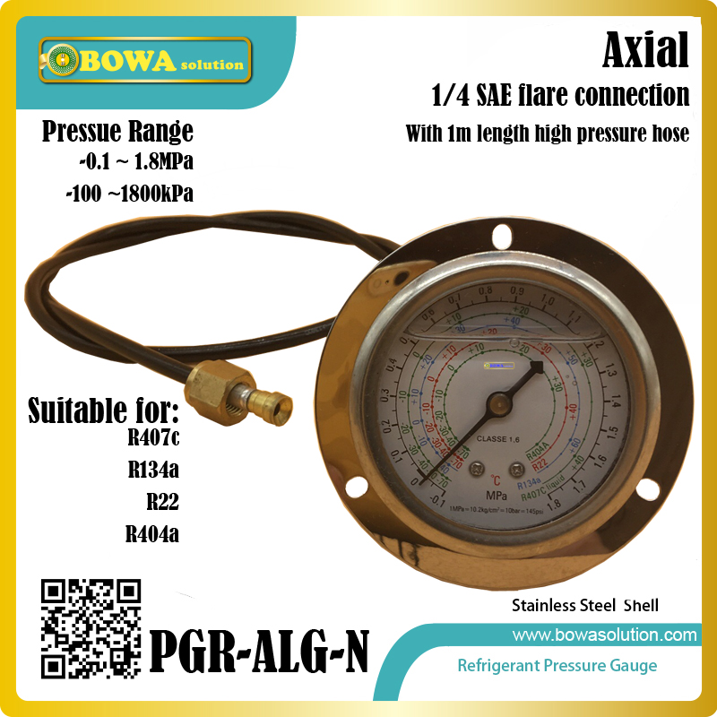 1.8MPa refrigerant Pressure Gauge with 1m length high pressure hose suitable for kinds of fridge equipments or brine units univeral expansion valves suitable for wide cooling capacity range and different refrigerants fridge equipments or freezer units