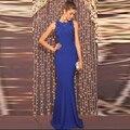 Vestidos de graduacion largos 2016 Azul Royal Chiffon Prom Vestidos Longos Abrir Voltar Vestido De Festa Longo