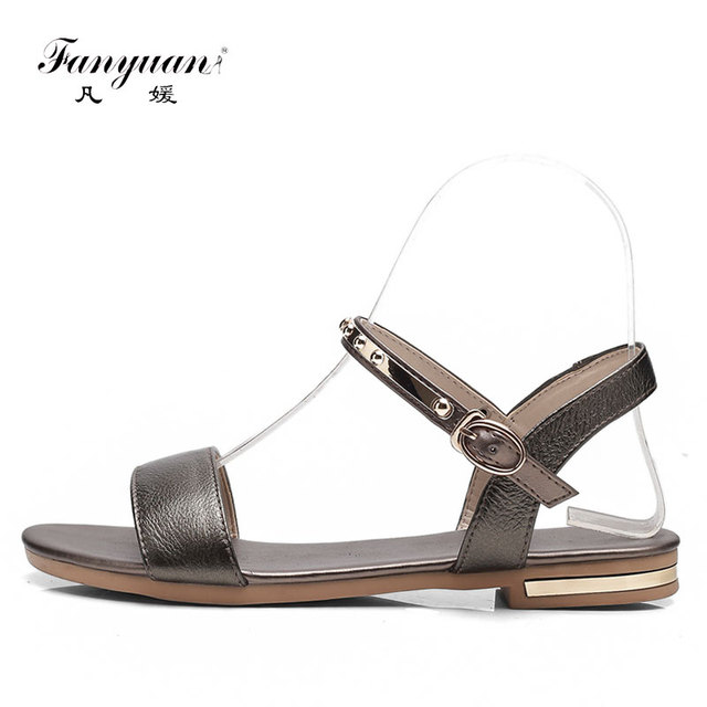 Fanyuan Simple Design Women s Flat Sandals Genuine Leather Ladies Shoes  2018 Sandals Summer Crystal Buckle Strap Zapatos Mujer 4ceeb4808268