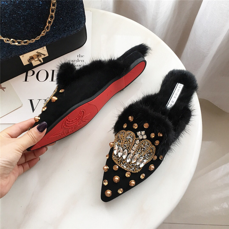 Winter Genuine Leather Crystal rivet Luxury Flats Mules Lady Slippers Pointed Toe Women Mules Outdoor Slipper Shoes Woman Slides