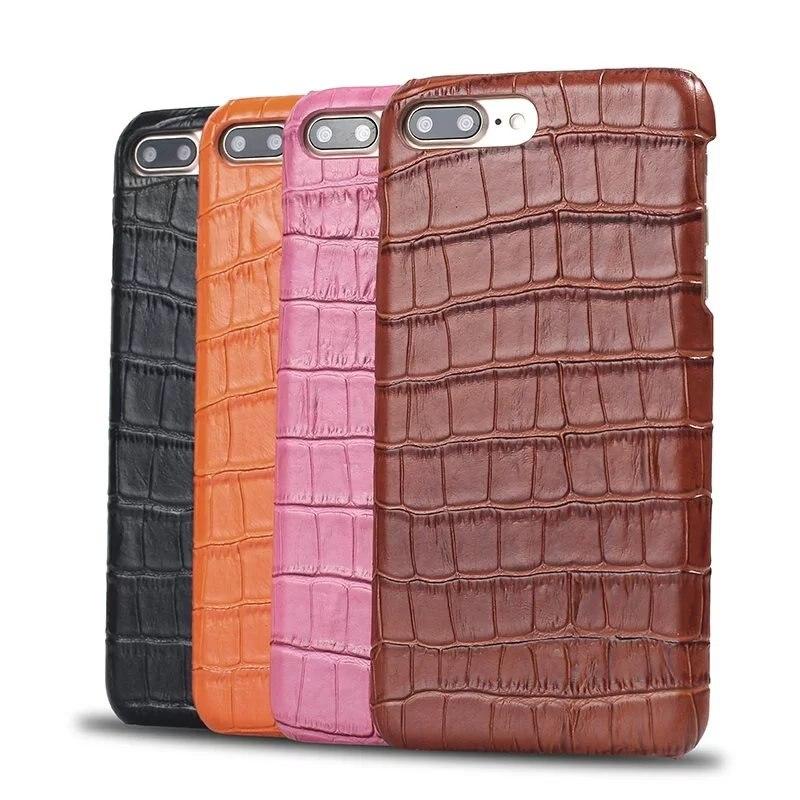 Цена за Телефон Случае Для iPhone 7 Плюс Роскошный Крокодил Зерна Кожаный чехол Для Apple iPhone 7 7 Плюс Мобильный Телефон Обратно крышка