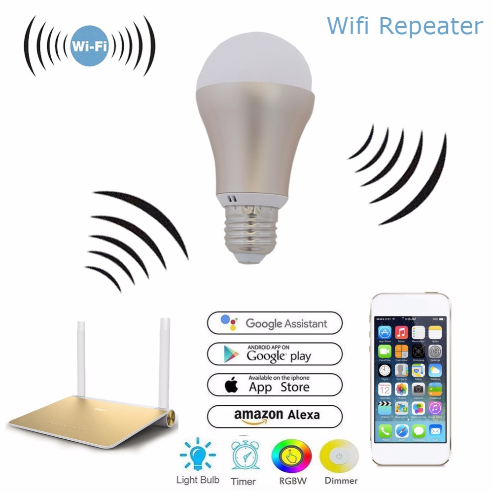 US $16 88 |Wireless Smart Wifi RGBW LED Light Bulb WiFi Router Extender  Booster Amplifier E27 2 4G Phone APP Android IOS-in Drone GPS from Consumer