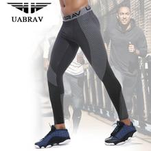 UABRAV Running Tights Men Sports Leggings Sportswear Long Trousers Yoga Pants Basketball Gym Fitness Compression Sexy Gym Slim