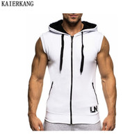 2017 Brand Muscle Man Hooded Vest Sleeveless Vest Stringer Pure Color Printing Crime Men Strong And