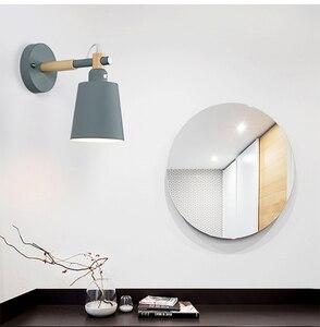 Image 4 - נורדי אור עץ מלא Macarons שינה מנורות קיר ליד מיטת המעבר LED אור קיר קיר צבעוני אופנה אורות למלון הבית