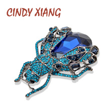 CINDY XIANG 2 Colors Available Rhinestone Large Bug Brooches for Women Fashion Crystal Insect Beetle Pins High Quality Jewelry