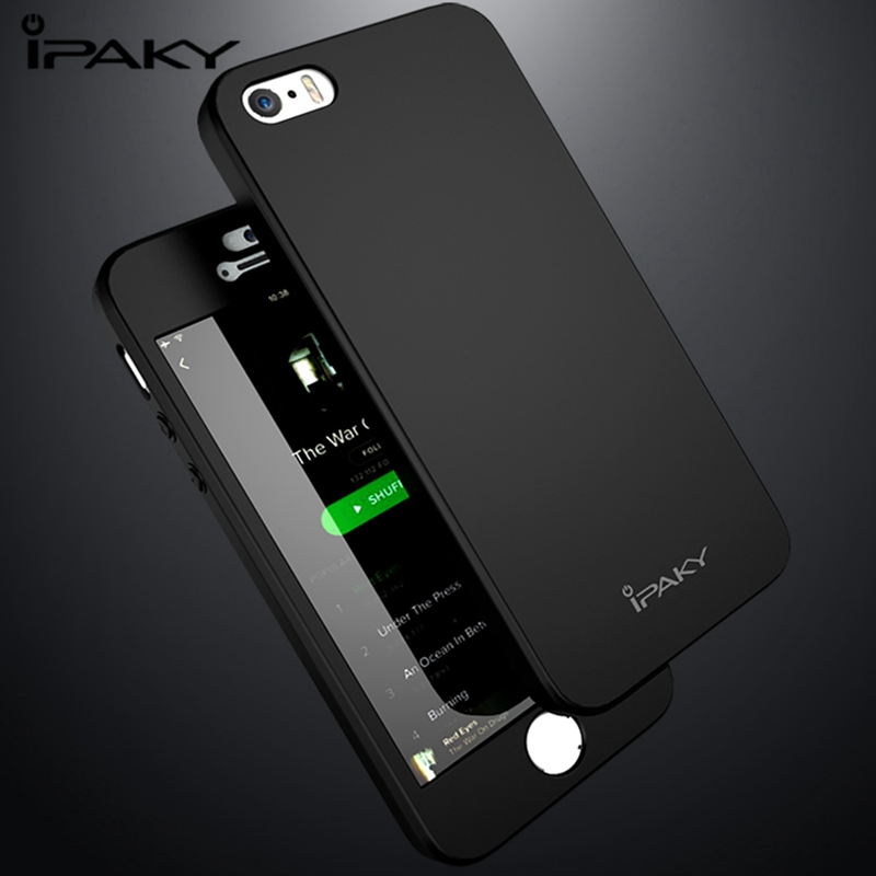 IPAKY Case For iPhone 5S/SE Matte Full Body 360 Degree Case For iPhone 5S SE Tempered Glass Screen Protector 5 S Full Cover Case