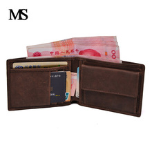 Vintage Designer Genuine Carteiras Masculinas Cowhide Leather Men Short Wallet Purse Card Holder Coin Pocket Male Wallet 075-02 new look minimalist men women wallet unisex male female coin purse pouch holder pocket simple casual designer short style canvas
