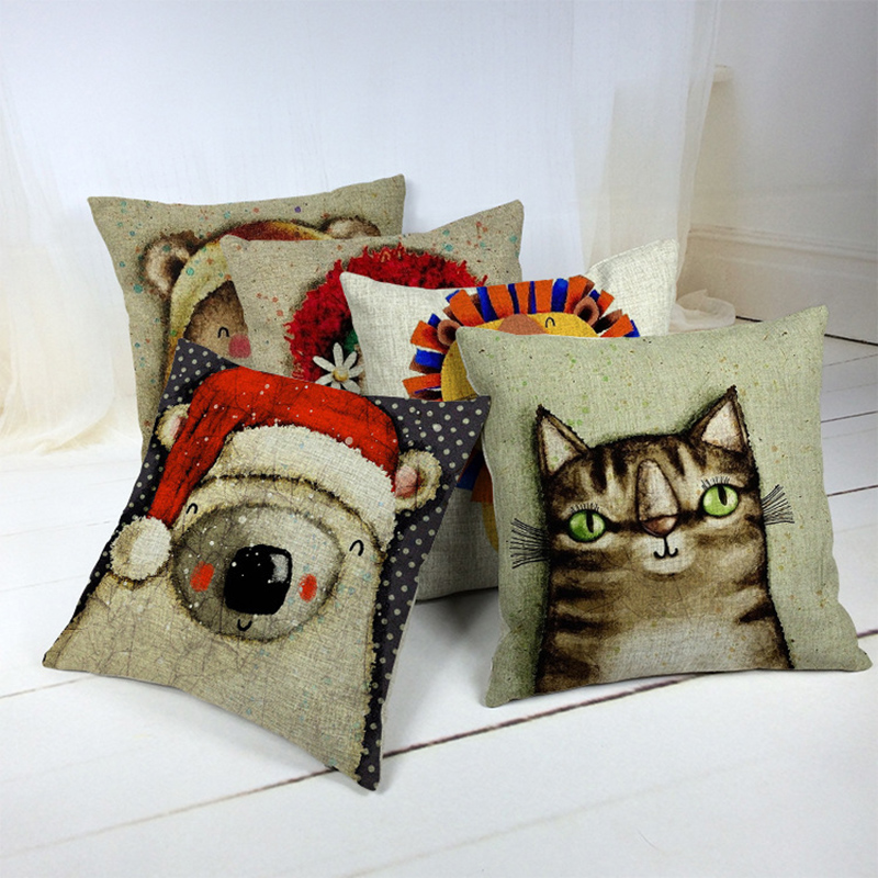 Cartoon Cushion Cover Cute Animal Pillowcase For Sofa Bedroom Home Decor F