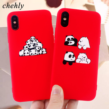 Cute Animal Phone Case for iPhone X XR XS Max 8 7 6 S Plus Panda Cases Soft Silicone Protect Mobile Accessories Covers