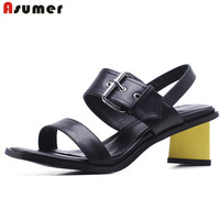 ASUMER 2018 Fashion Summer Women Sandals Leisure Simple New Arrive Elegant Shoes Woman Genuine Leather High