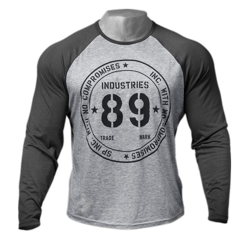 Men Long sleeves cotton t shirt autumn style raglan sleeve casual fashion clothing Slim fit elasticity male Fitness tees tops