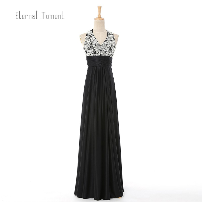 New Design Sexy A-Line V-Neck Beading Chiffon Long Evening Dress Sleeveless Floor Length Evening Party Dress 8689