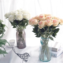 yumai 10pcs/set Red Rose Silk Artificial Bouquets Pink White Champagne Roses Bundle for Wedding party Centerpiece Decoration