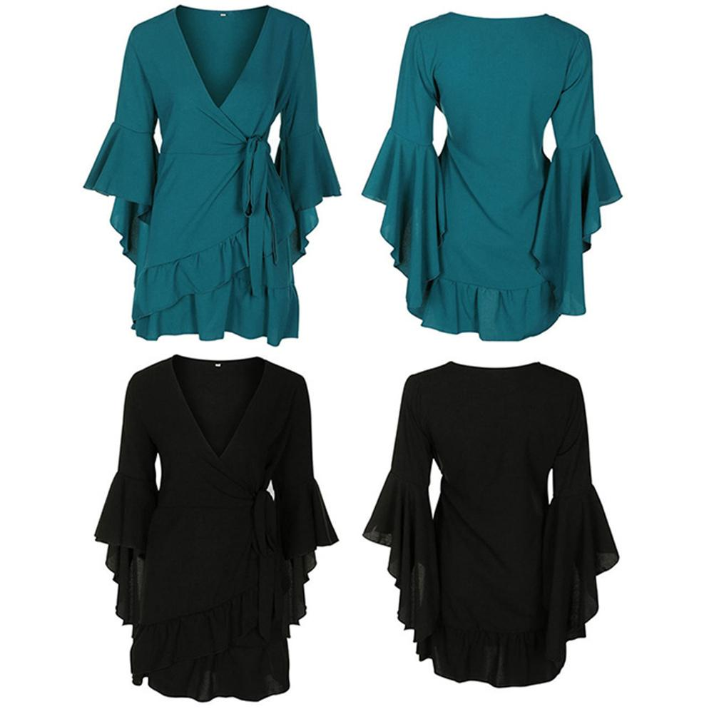 Fashion Retro Seven-quarter Sleeve Autumn Lotus Ruffle Lace-up Solid Color V-neck Dress Sexy Girl Film
