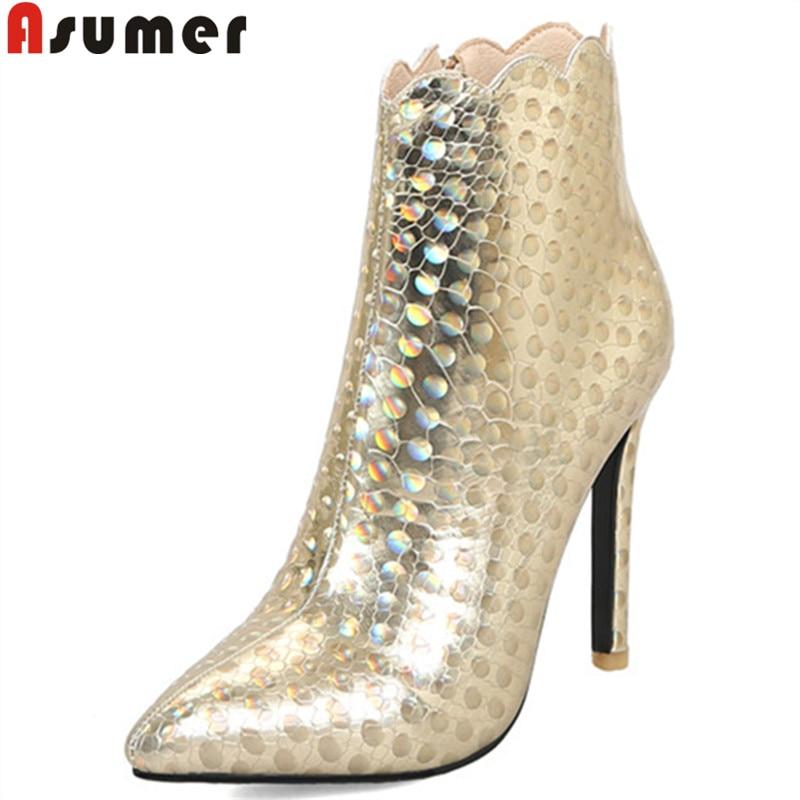 Asumer Femmes Haute Dames Cheville Mince Talons Bal Automne sliver Bout gold Hiver Pointu Zip De Bottes Pour 2018 Élégant Noir Nouveau Arriva g76vYymIbf