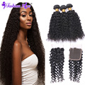 Annabelle Hair Kinky Curly Lace Closure with Bundles Brazilian Virgin Hair With Closure Human Hair Weave 3Bundles With Closure