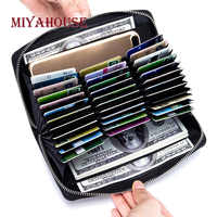 Miyahouse Large Capacity Card Holder Wallet Women Business RFID Cards Wallet Unisex Credit Holder Purse Female