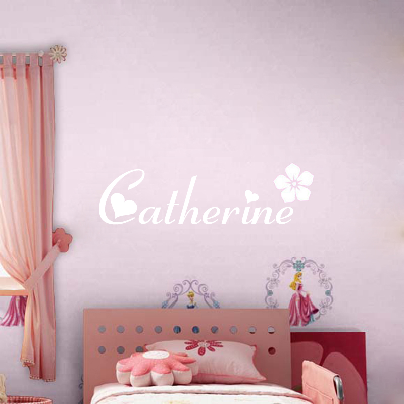 Personalized Custom Name Vinyl Wall Stickers for Kids Rooms Nursery Decor  -Flower Heart Art Girl Name Wall Decal Mural XX107