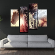 Painting Pictures Print On Canvas People decor BANMU 4 Panel Wall Art Man Feather Headdress And Tomahawk Horse Gray Background